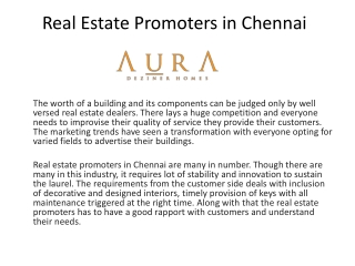 Real Estate promoter in Chennai