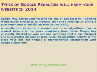 Types of Google Penalties will harm your website in 2014
