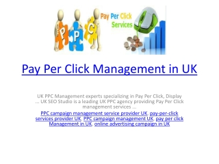 Pay per click management in UK