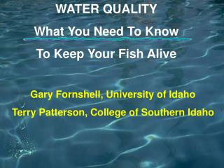WATER QUALITY What You Need To Know  To Keep Your Fish Alive