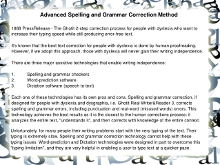 Advanced Spelling and Grammar Correction Method