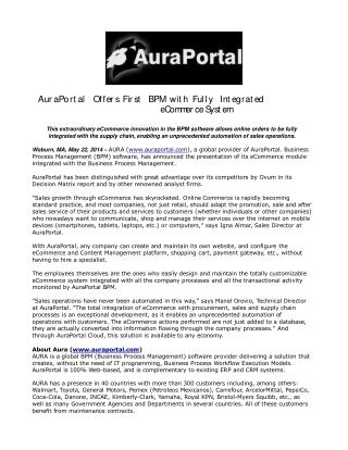 AuraPortal Offers First BPM with Fully Integrated eCommerce