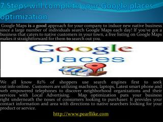 7 Steps will complete your Google places optimization