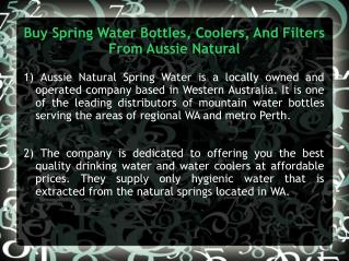 Buy Spring Water Bottles, Coolers, And Filters From Aussie N