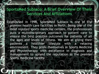 SportsMed Subiaco: A Brief Overview Of Their Services And Af