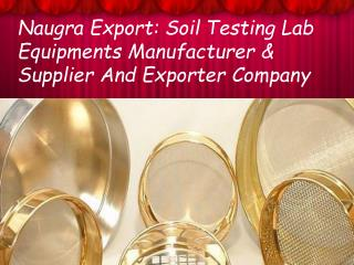 Find Soil Testing Lab Equipments Exporters
