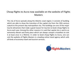 Book cheap Flights to Accra