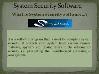 SystHeal- System Security Software