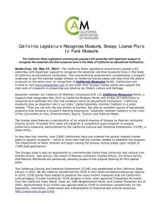 California Legislature Recognizes Museums, Snoopy License Pl