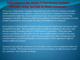 Warrantech is the Nation's First Service Contract Provider