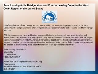Polar Leasing Adds Refrigeration and Freezer Leasing Depot