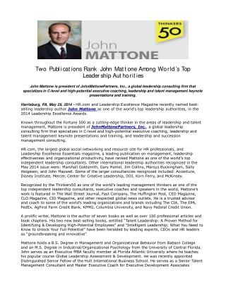 Two Publications Rank John Mattone Among World's Top Leaders