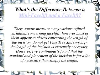 What's the Difference Between a Mini-Facelift and a Facelif