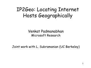 IP2Geo: Locating Internet Hosts Geographically