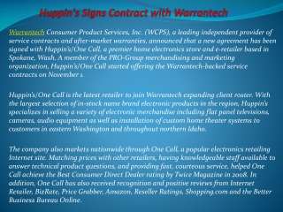 Huppin's Signs Contract with Warrantech