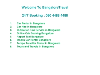Cheapest Outstation Cabs in Bangalore:BangaloreTravel.Net