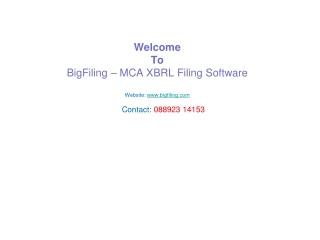 MCA xbrl Compliance Service, xbrl software India:BigFiling