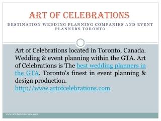 Art of Celebrations Best Wedding Planners in Toronto
