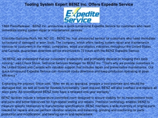 Tooling System Expert BENZ Inc. Offers Expedite Service