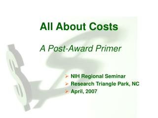All About Costs  A Post-Award Primer