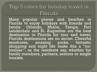 Florida top destinations for tourists