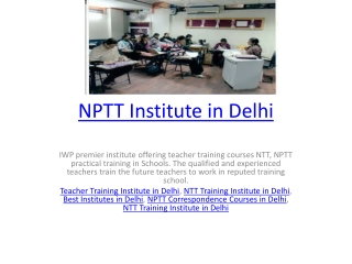 NPTT Institute in Delhi