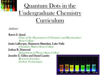 Quantum Dots in the Undergraduate Chemistry Curriculum