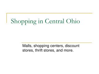 Shopping in Central Ohio
