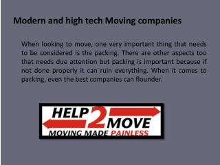 Modern and high tech Moving companies