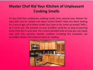 Master Chef Rid Your Kitchen of Unpleasant Cooking Smells