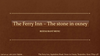 The Ferry Inn - Restaurant Menu
