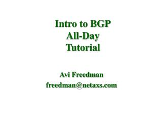 Intro to BGP All-Day Tutorial