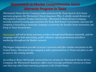 Warrantech to Market Comprehensive Home Warranty Program in