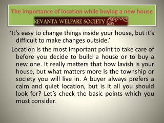 The importance of location while buying a new house