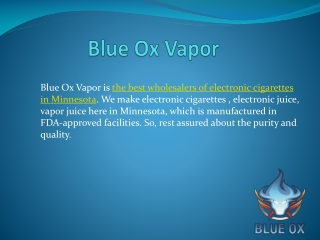 BLue Ox Vapor - Products