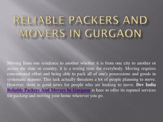 ReliablePackersAndMoversInGurgaon