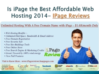 Fast, Reliable Unlimited Web Hosting - iPage reviews 2014