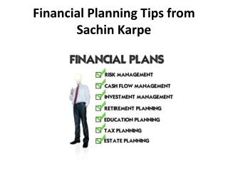 Financial Planning Tips from Sachin Karpe