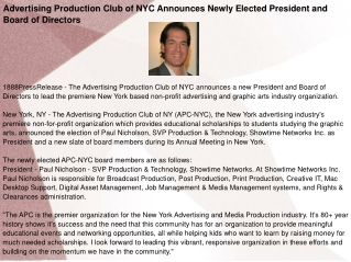 Advertising Production Club of NYC Announces Newly