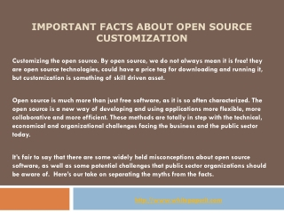 Important facts about open source customization