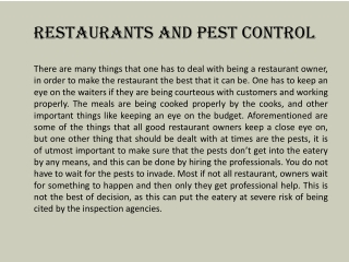 Restaurants and Pest Control