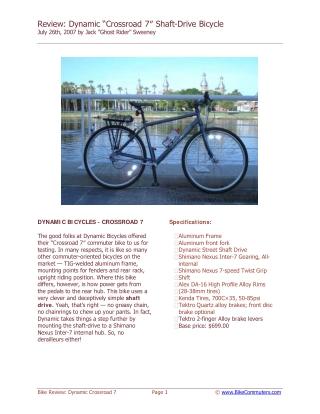 Shaft-Drive Bicycle