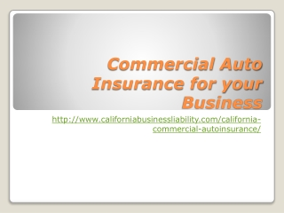 Commercial Auto Insurance for your Business