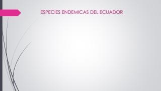 Especies endemica