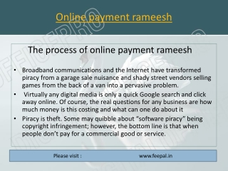 The process of online payment rameesh
