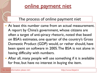 Knowledge related online payment  niet