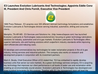 E3 Launches Evolution Lubricants And Technologies