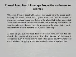 Corozal Town Beach Frontage Properties