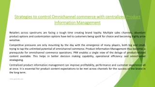 Strategies to control Omnichannel commerce with centralized