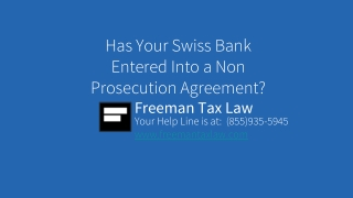 Has Your Swiss Bank Entered Into a Non Prosecution Agreement